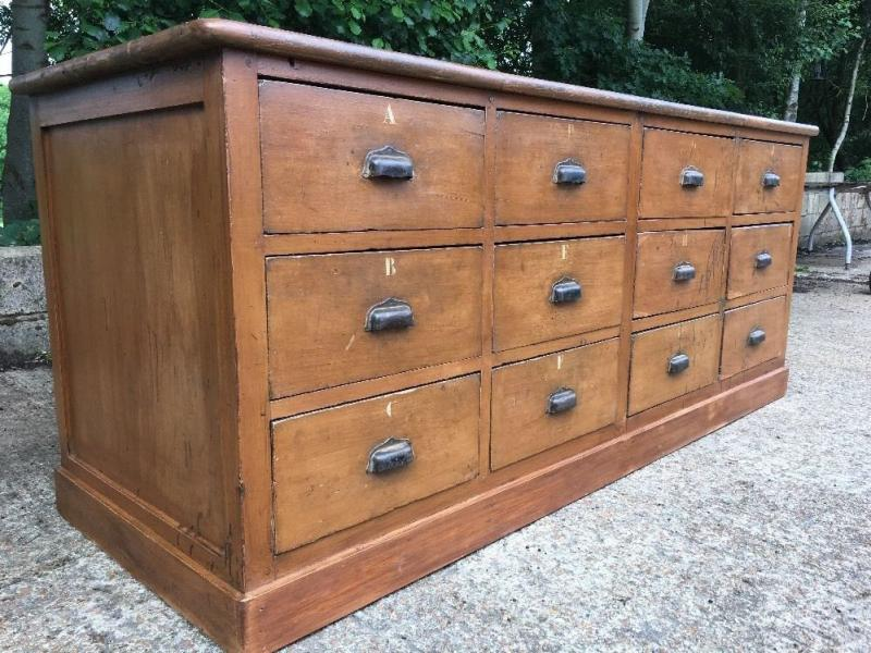 Antique Apothecary Bank Of Drawers Vintage Shop Counter
