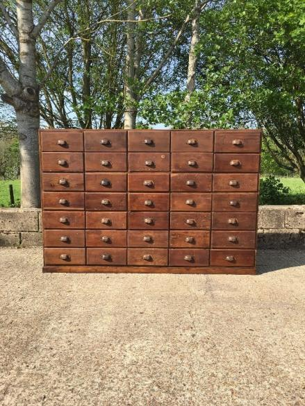 INDUSTRIAL BANK OF DRAWERS APOTHECARY DRAWERS WOLFE ANTIQUES