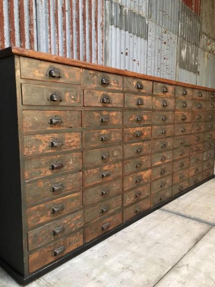 antique bank of drawers, antique apothecary drawers