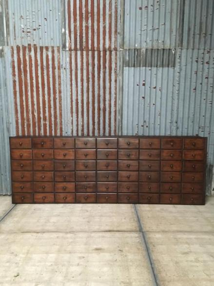 Antique bank of drawers, industrial bank of drawers, antique pharmacy drawers